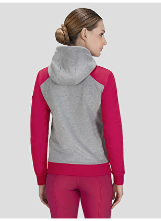 bd1567970d724 FRAN - WOMEN'S HOODED SWEATSHIRT IN GREY MELANGE AND CHERRY RED COLOR