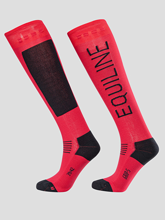 RED UNISEX SOCKS WITH GRIP SYSTEM